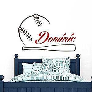 Baseball Name Wall Decal Boy Custom Personalized Boys Name Decor Vinyl Decal Baseball Kids Teens Boys Room Sports Wall Decal Nursery ZX263 by IncredibleDecals
