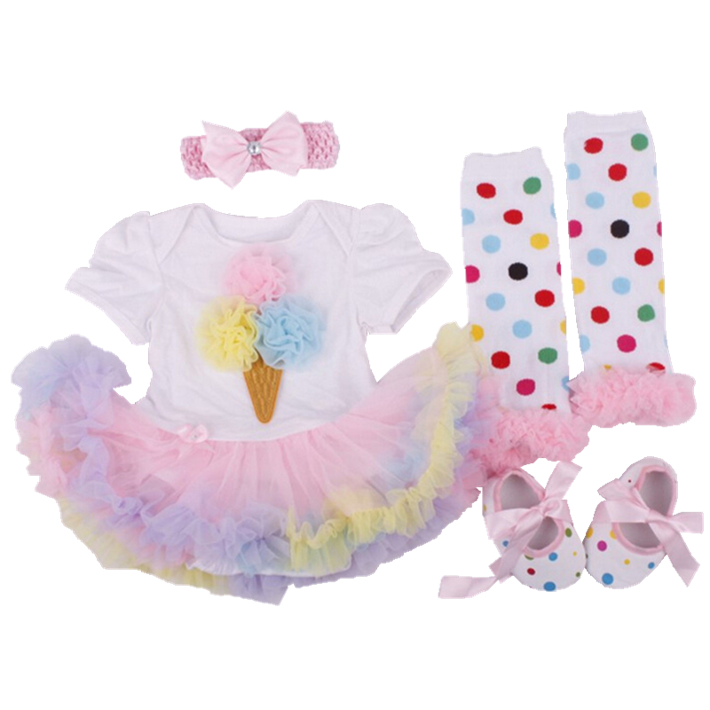 Newborn Baby girl clothes Cotton 1 year birthday dress Short Romper Dress/vestidos+Toddler Shoes+Socks+Headband Baby clothing
