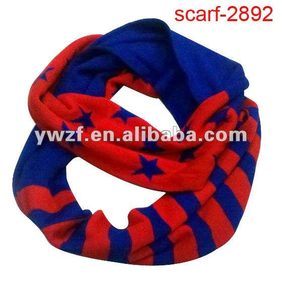 fashion american flag knitted acrylic neck warmer circle scarf