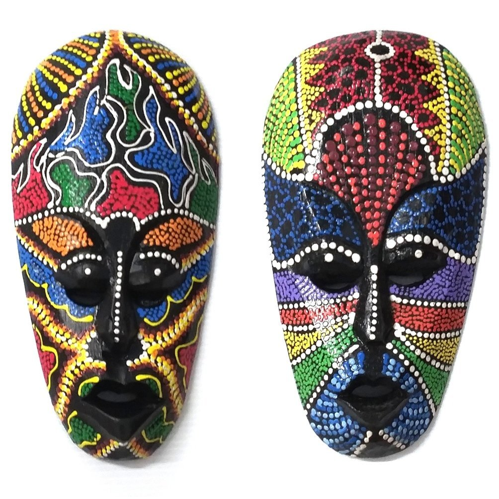 African Tribal Mask Aboriginal Painted Dot Art Wooden Wall Decor Hanging Plaque 8 X2