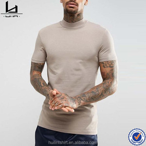 Brand factory online shopping turtle neck 100 combed cotton t shirts