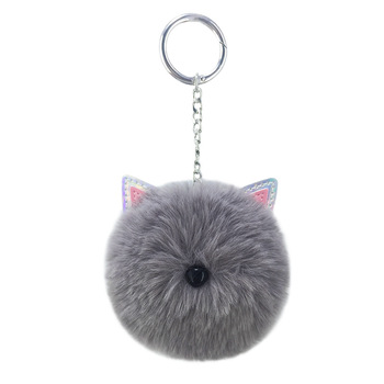 New design cute PU cat's ear keychain custom rabbit fur pom pom keychain for bag