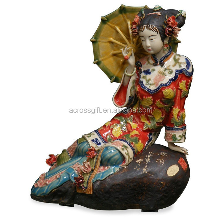 personalized handmade color painted decorative chinese porcelain dolls
