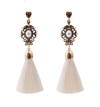 Vintage Thread Tassel Fringe Earrings Big Pearl Women Drop Dangle Earrings Jewelry