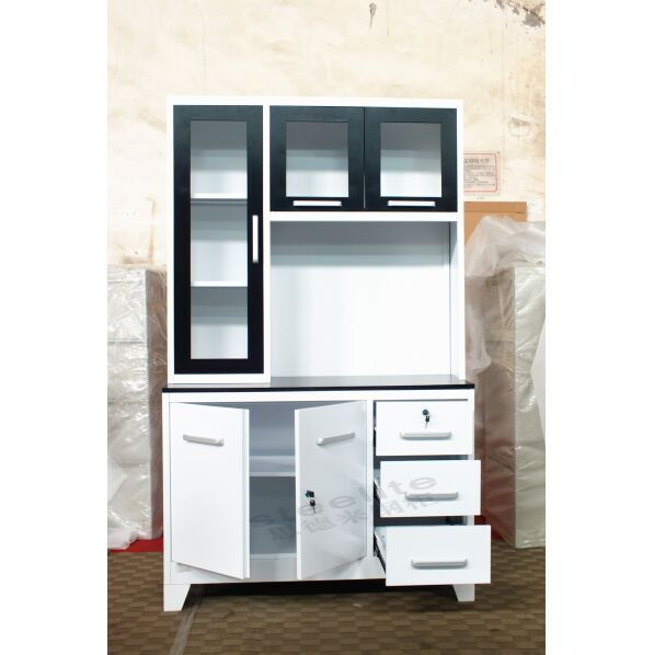 Glass Door Kitchen Cabinet / Steel Godrej Cupboard Price Metal Cabinets Design