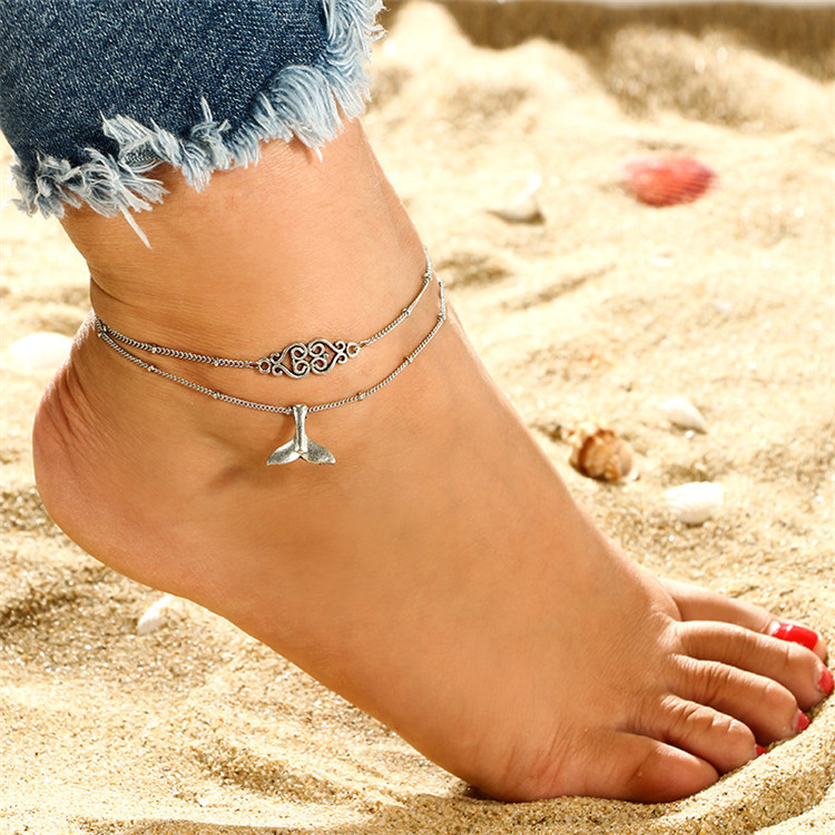 New Summer Beach Boho Starfish Shell Pendant Crystal Bead Chain Rope Bracelet Leg Anklet Foot Jewelry Gifts for Women Men Gifts