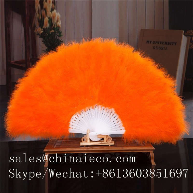Wholesale 28 framework of fan Turkey feather fan stage performance hand fans for dance