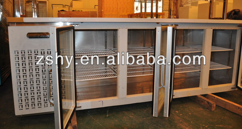 refrigerated bench counter with glass doors