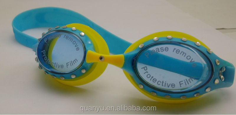 Hot sale super professional Novelty Kids sparkle Swimming goggles with rhinestone