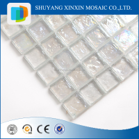 building materials square white glass mosaic tile for wall art decor