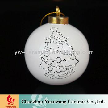 diy xmas decor ball unpainted ceramic christmas ornaments - Ceramic Christmas Decorations