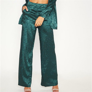 Business Pants Women Emerald Green Floral Print Satin Trouser