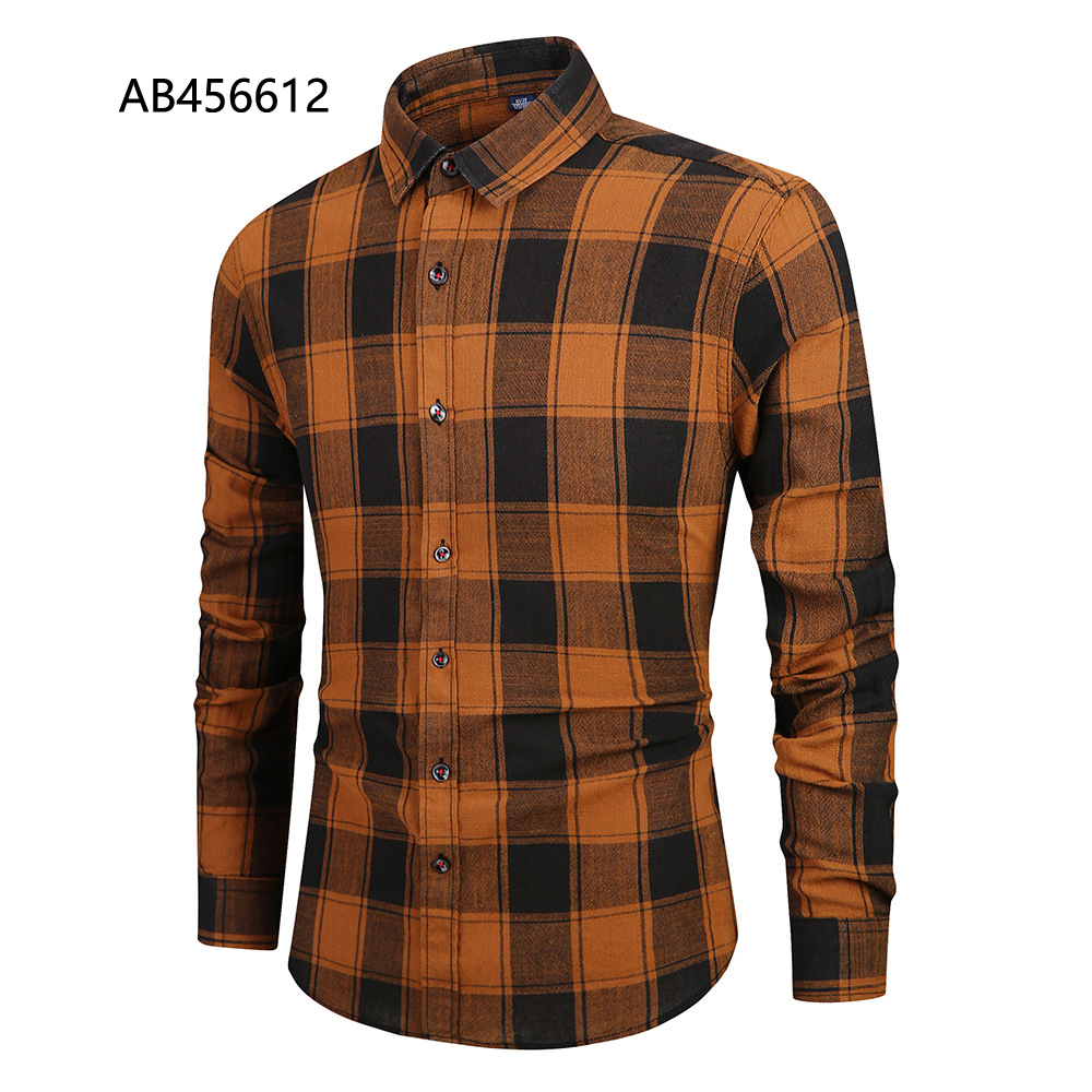 Wholesale custom stylish flannel shirt autumn mens check cotton long sleeve  AB456612