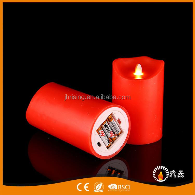 RISING red pillar moving led flameless paraffin wax candle fake flameless