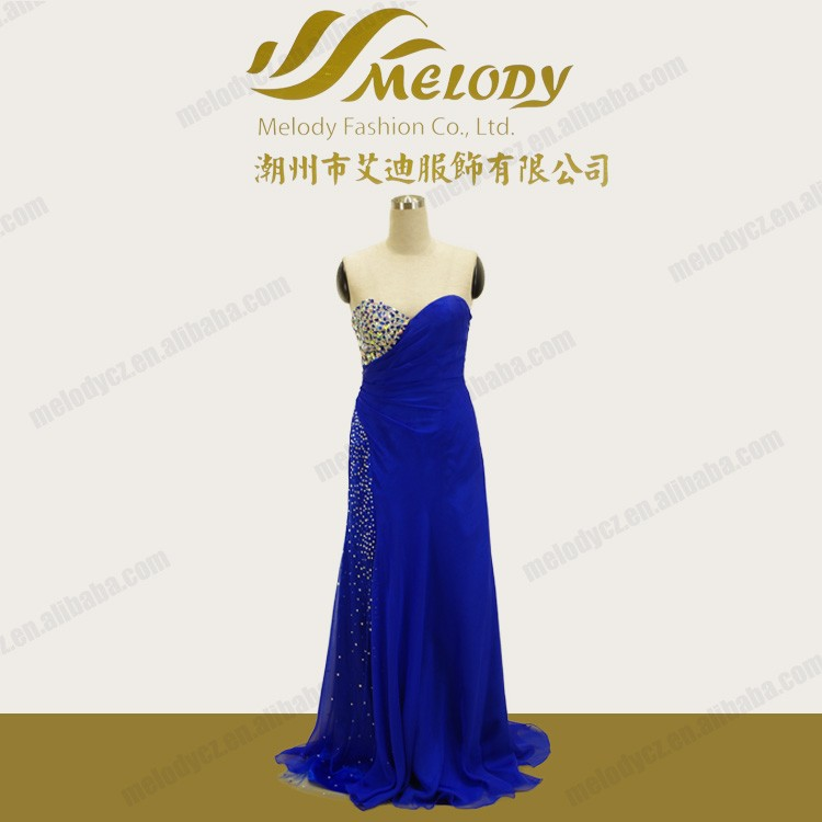 Rinestone special real pircture good quality blue strapless dresses alibaba prom