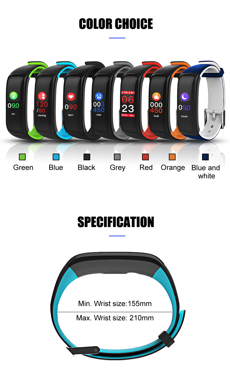 Hot sale IP67 Waterproof Heart Rate Monitor Color Screen Smart Bracelet P1 Plus with Blood Pressure