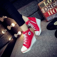 New slope with canvas shoes female 8 cm high-heeled Korean zipper with large size 40-43 casual women's shoes