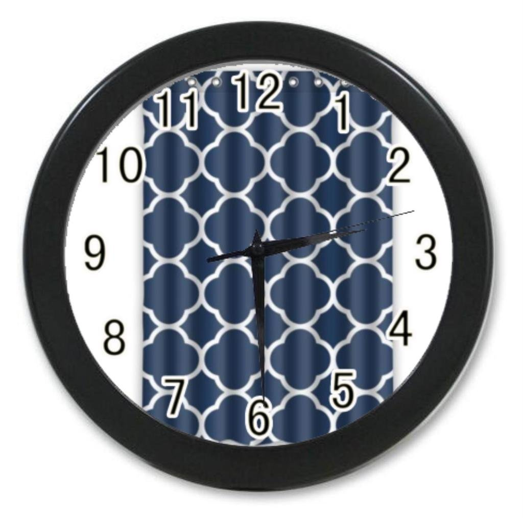 Laus Home Decoration Custom Personalized Classic Navy Blue Quatrefoil room Elegant Wall Clock Modern Design Watch 9.65