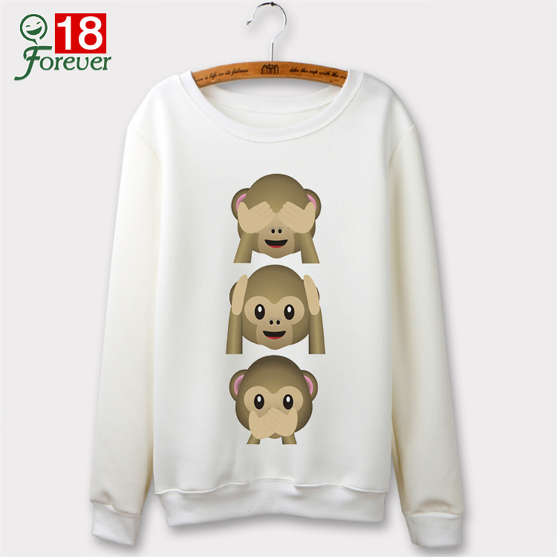 Emoji Monkey Cute Sweatshirts Autumn 2015 O-neck Hoodies Women Winter Clothing Harajuku Sweatshirt Sudaderas Mujer Casual Sport
