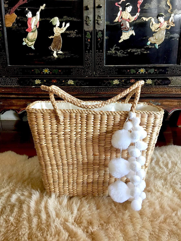 Pom Pom Straw Bag,Handwoven Straw Bag,Straw Bags and Totes,Straw Tote Bag,Straw Tote Bag for Women,Straw Tote Beach Bag,Round Straw Bag,Pom Pom Bag,Pom Pom Bag Tassel