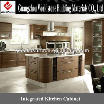 Terintegrasi Kabinet Dapur Dengan Permukaan Padat Akrilik Meja