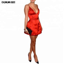 Red <span class=keywords><strong>Satin</strong></span> Terjun Dalam V-neck Cocktail Dress Night Club Party Mini Dress