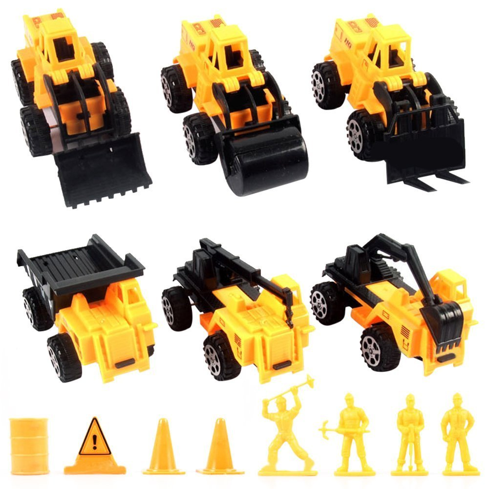 Easydeal Mini Building Construction Toys Truck Mini Machine Set of 6, Excavator Truck, Forklift, Crane Truck, Road Roller, Bulldozer, Dump Truck