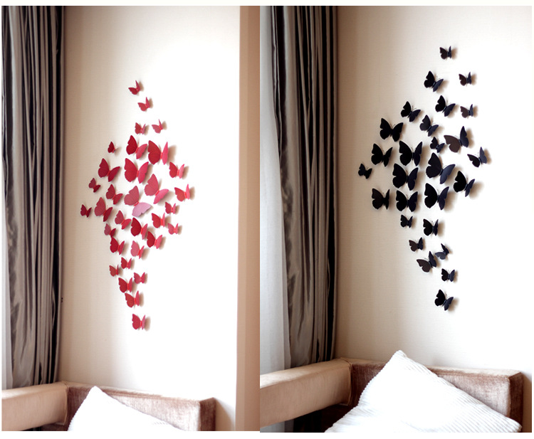 2019 China fabricante atacado decoração da parede de papel peças de decoração para casa removível da borboleta 3d