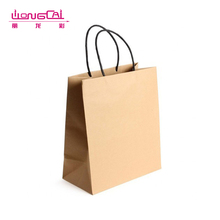 Low MOQ cheap reusable flat handle kraft paper shopping bag