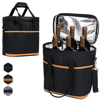 Portable Black Travel Carrier 6 Pack Bottle Cooler Bags Insulated Wine Tote Bag