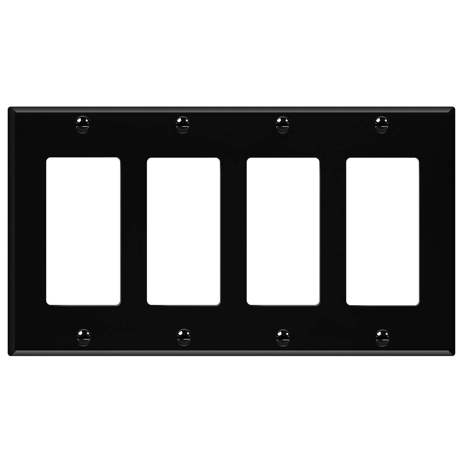 Enerlites 8834-BK Decorator Light Switch/Receptacle Outlet Wall Plate, Standard Size 4-Gang, Polycarbonate Thermoplastic, Black