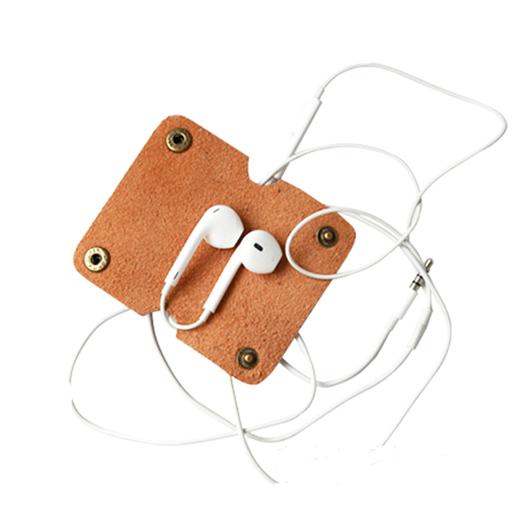 Factory Wholesale Leather Earphone Holder Leather Cord Holder For Earphone