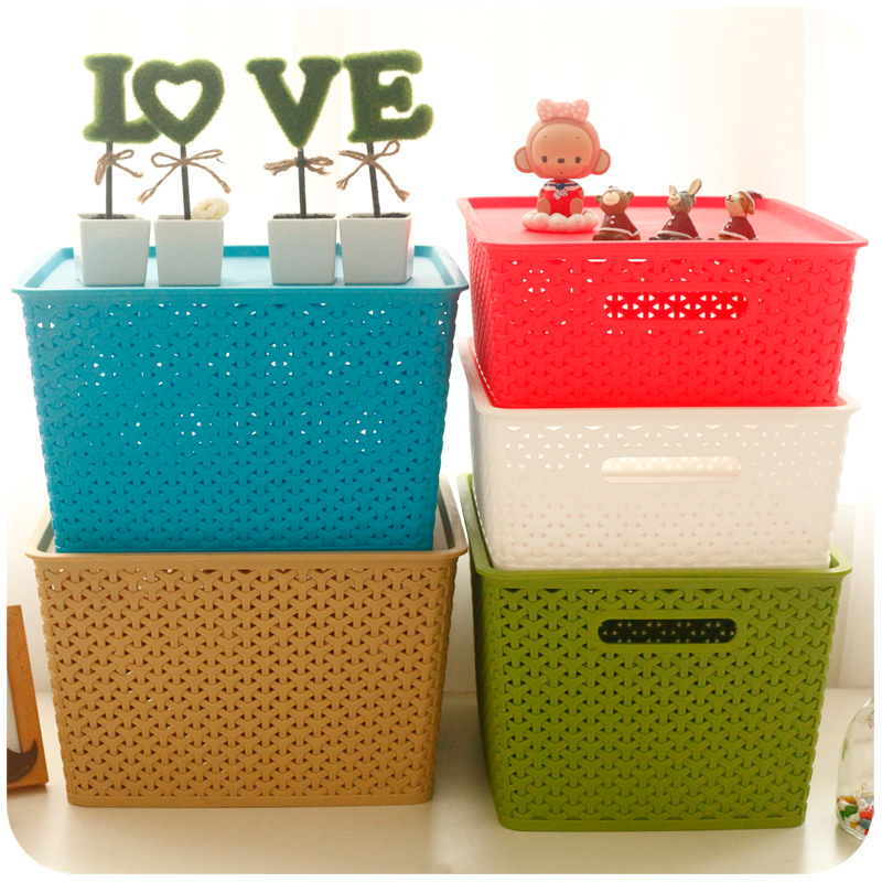 Household multi-purpose plastic rattan box storage basket with lid