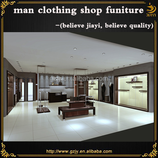 2016 fashion hot sale man clothes shop furniture and wood clothes showcase design