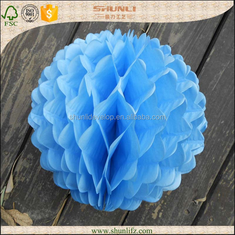 wedding decoration hanging light blue folding tissue honeycomb flowers