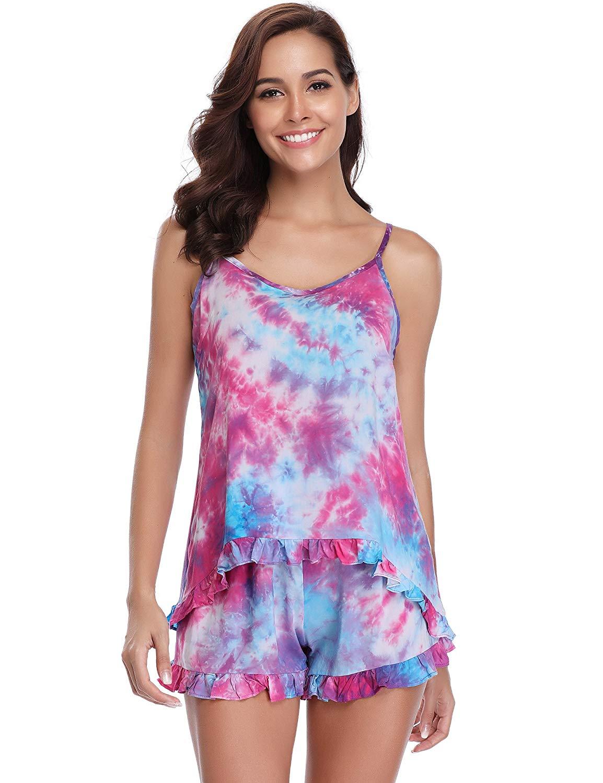 89f16a4c7 Get Quotations · Aibrou Womens Cotton Pajama Set Tie Dye Cute Summer Floral Pajama  Short Set Cotton PJ s