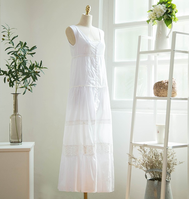319d56a7b44 Japan summer style V neck sleeveless lace trim cotton patchwork swing  simple maxi loose dress