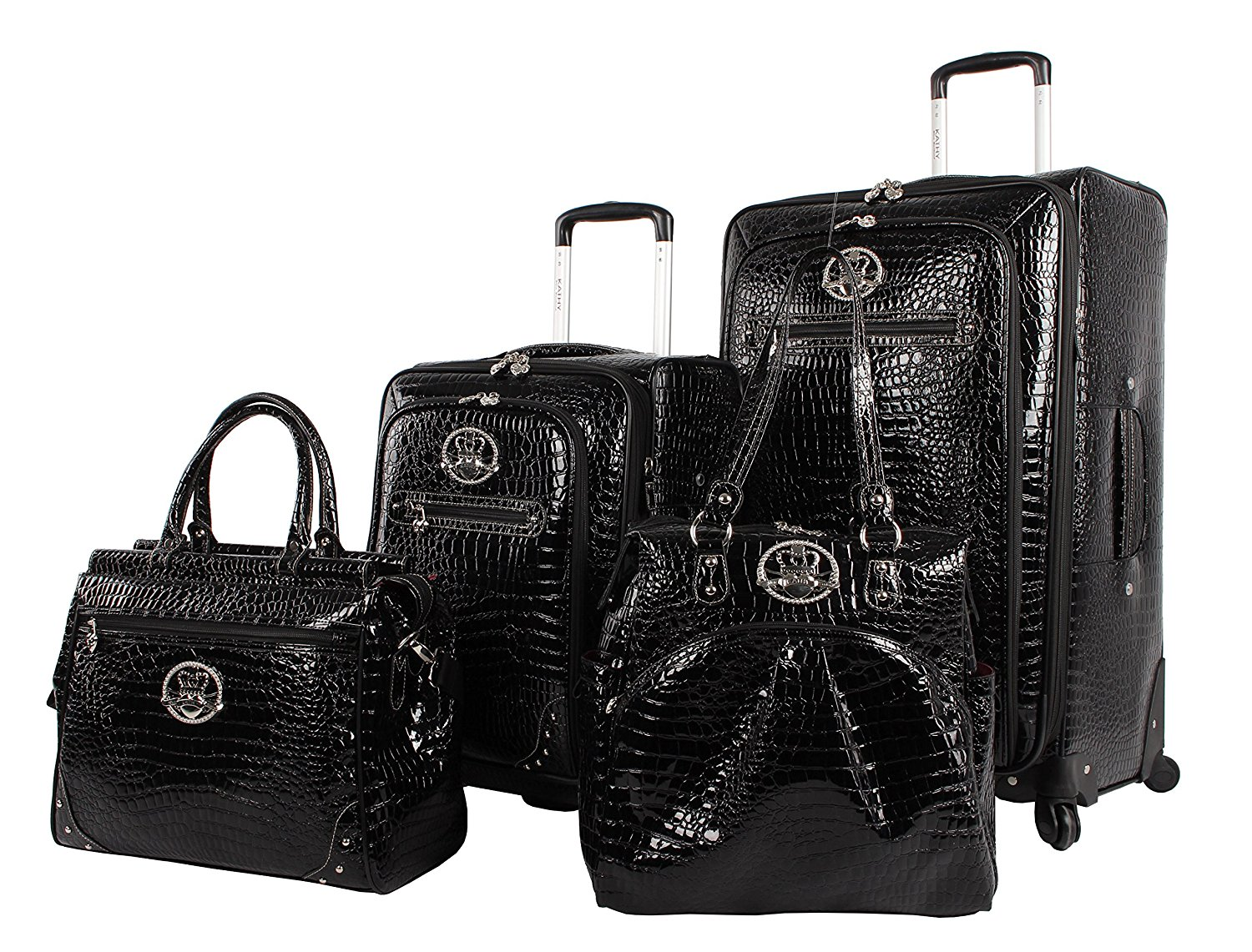 2088adaeca13 Get Quotations · Kathy Van Zeeland Croco PVC Luggage Set 4 Piece Expandable  Suitcase with Spinner Wheels