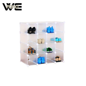 16 Cubes Plain White Shoe Storage Cabinet Cube Interlocking Pairs Shoes