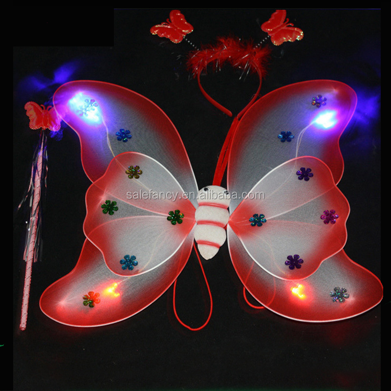 Lovely Fancy Costume led belly dance wings 3 set girls fairy dresses with wings butterfly wing QFW-8148