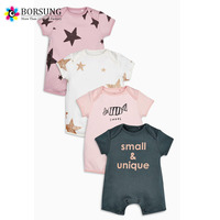 100% Organic Cotton Short Sleeve Fancy Printed lnfant Baby Clothes Romper