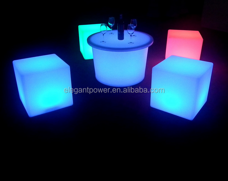 Waterproof plastic outdoor use lighting led glowing cube chair table with remote control