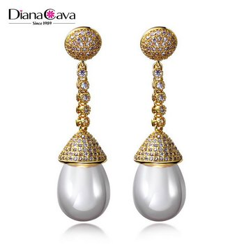 Deluxe 18k Gold Jewelry Earring Wedding Party Cz Pearl Drop Earrings Designs Product On