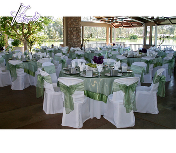basic poly Miami chair covers with bows, white chair covers for plastic Miami chairs in beach weddings