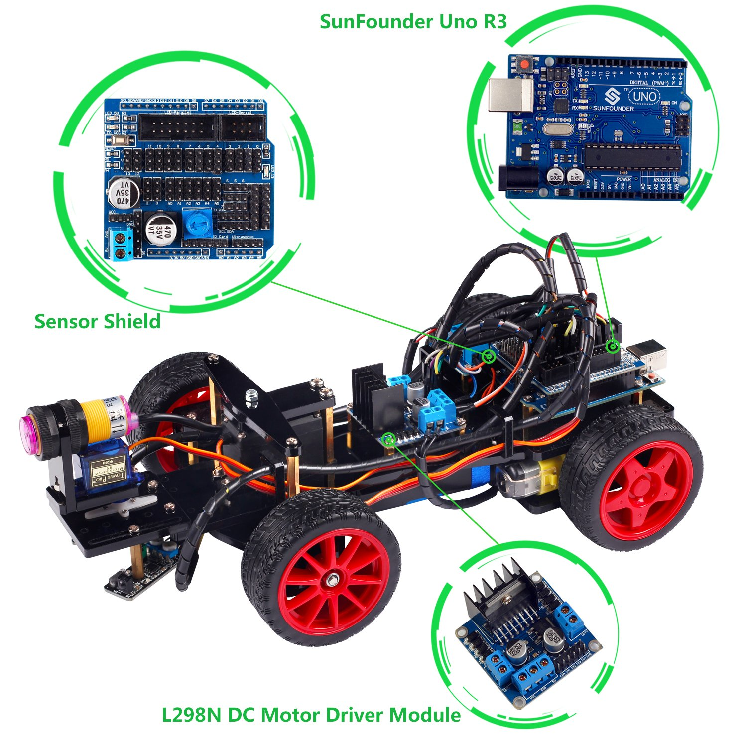 SunFounder Smart Car Kit for Arduino with Uno R3, Obstacle Avoiding, Line Tracing and Light Seeking