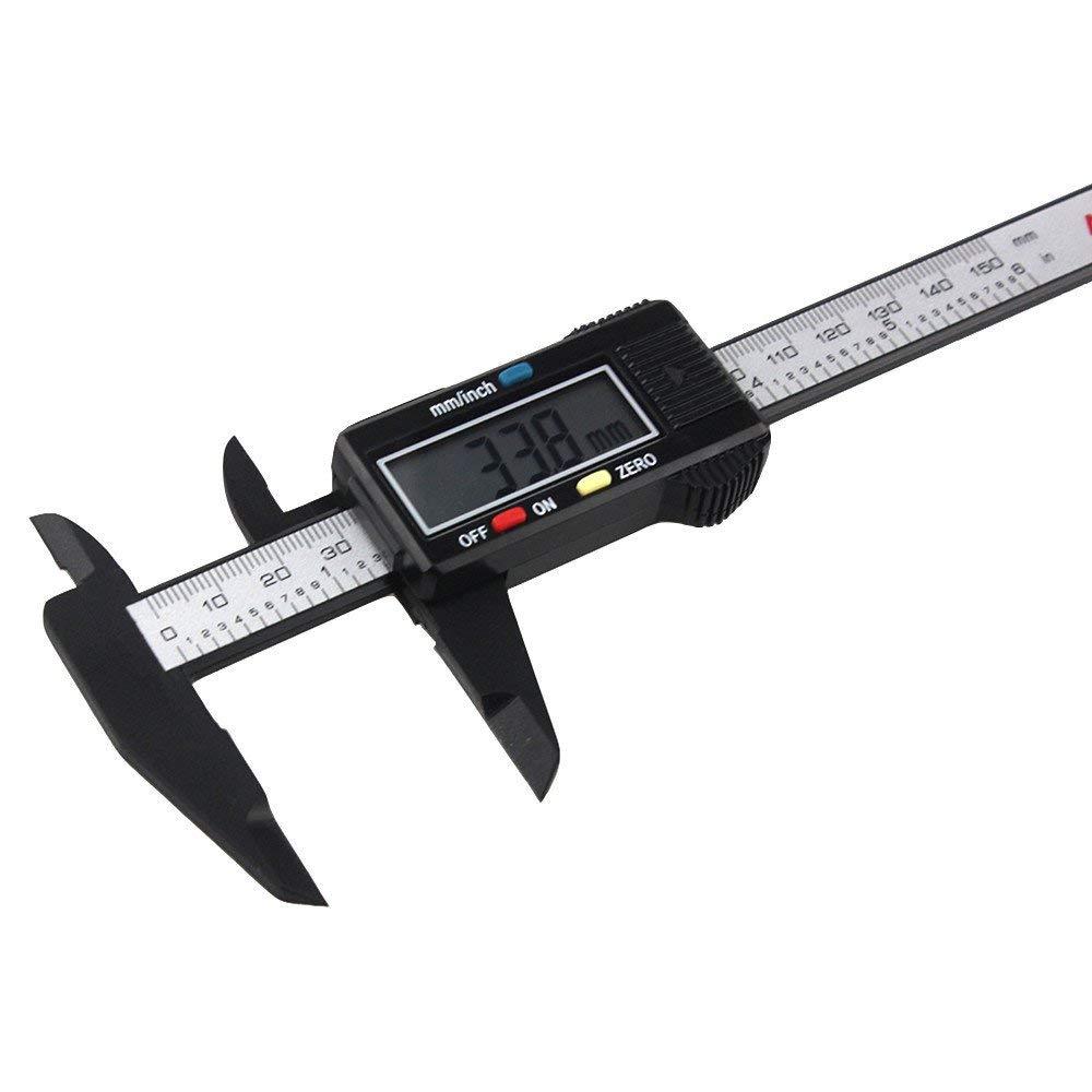 Rumas Battery Operated Vernier Caliper 6Inch, LCD Digital 150MM Gauge, Lightweight Portable Measuring Stationery Tool (Black)