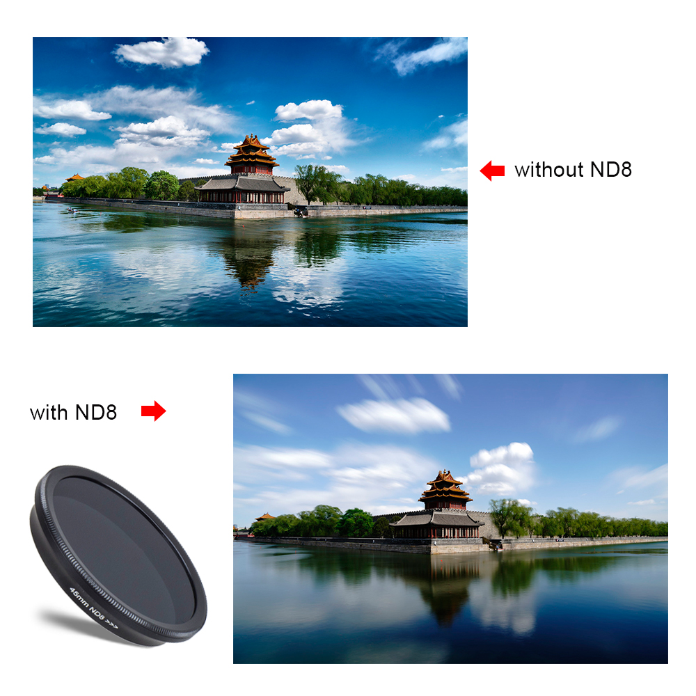 APEXEL phone camera lens filter kit wide angle/macro lens with Grad blue Grad gray ND CPL filterfor android ios smartphone
