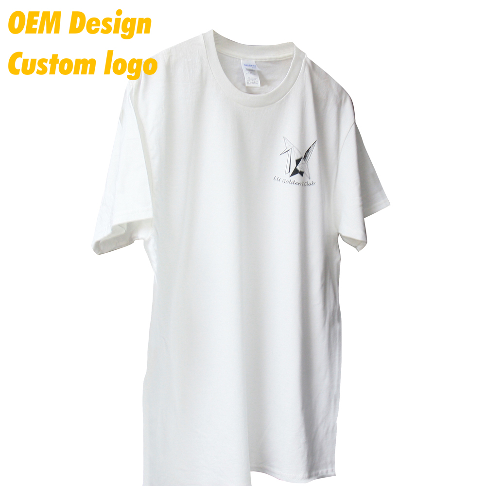 Manufacturer Promotion cotton polyester Screen Print Large size 180 gram White O- neck Men T- shirt for Ladies