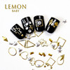 wholesale 2018 popular alloy nail art accessories fashionable gold silver heart nail art decoration