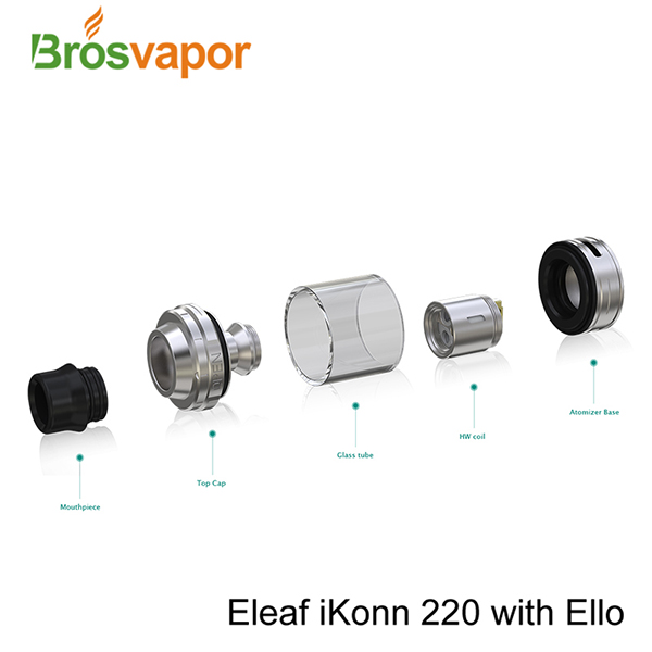 New Arrival E Cigarette Products Express Eleaf iKonn 220 ELLO Kit With 510 Drip Tip Vaporizer Tank shipping withihn 12hours